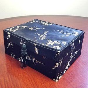 VINTAGE satin cherry blossom jewelry box